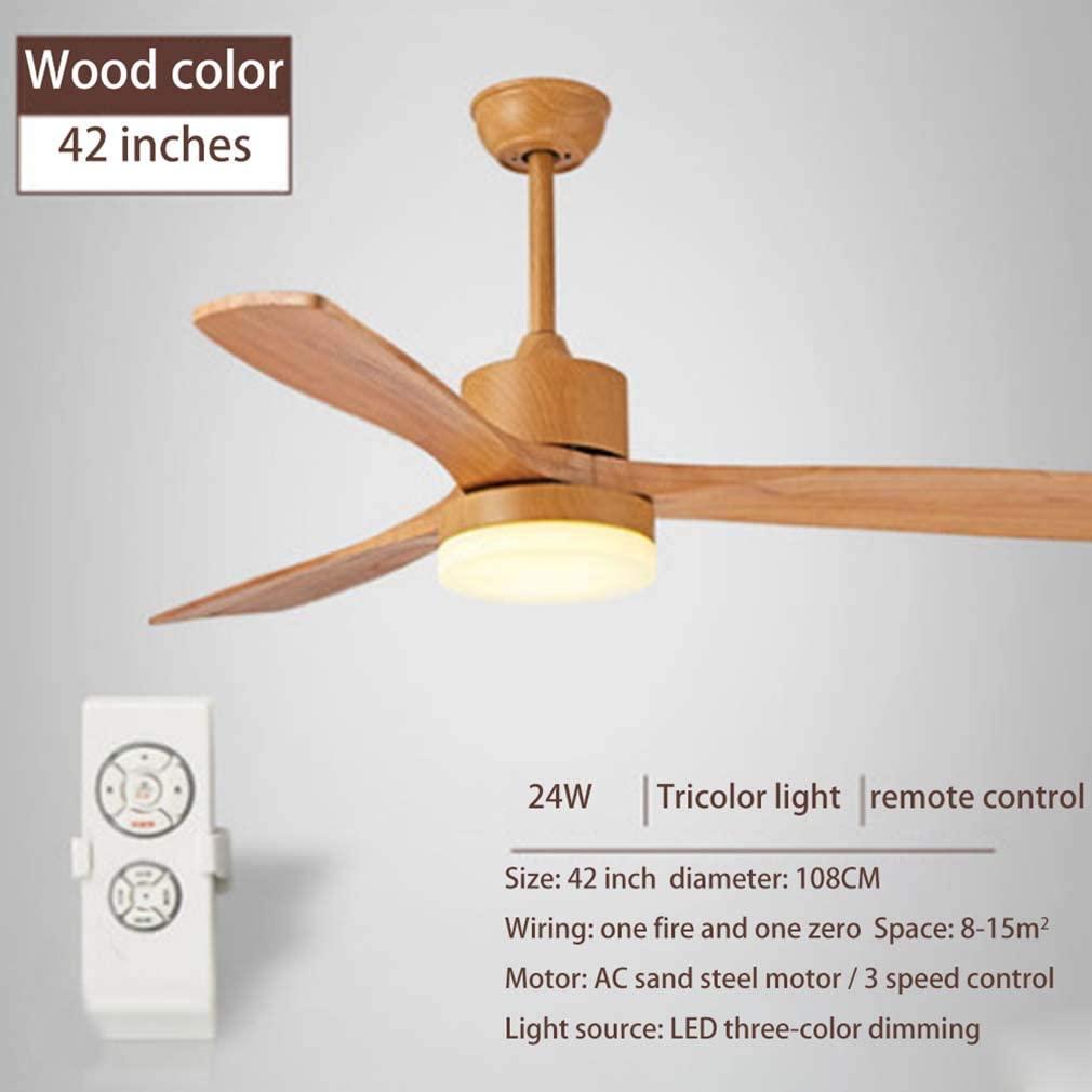 ZJUAN Retro Industrial Solid Wood Ceiling Fan Light,3-Blade Adjustable Noiseless Fan Light,Dining Room Bedroom Living Room Ceiling Fan B.42 in Remote Control