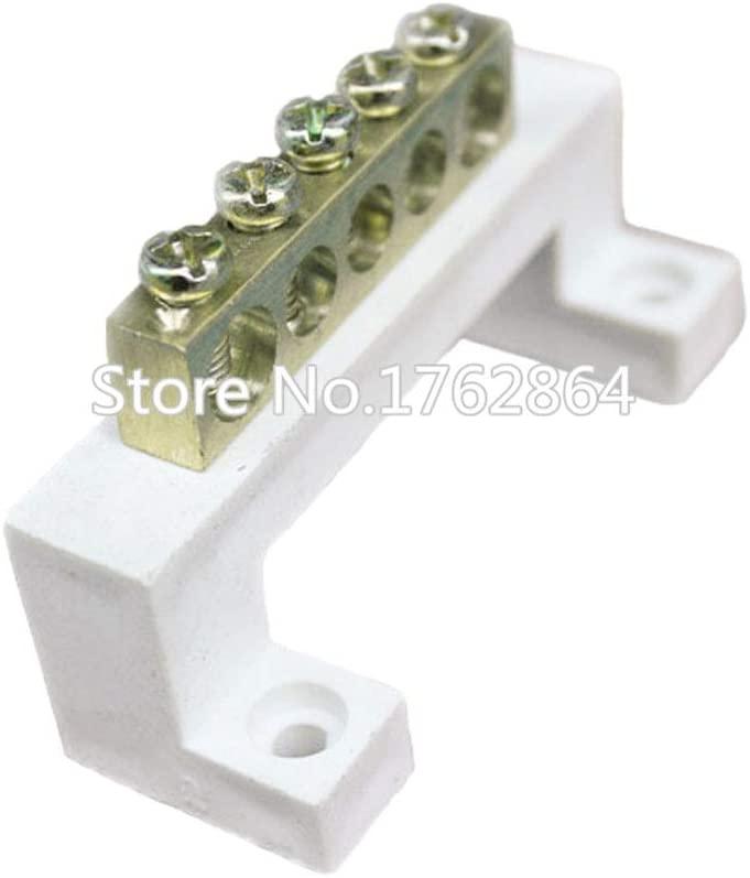 Davitu Electrical Equipments Supplies - 1 pcs Wiring Terminal Zero line Zero Row 711-5/7/10/15 Copper Row grounding high Bridge Distribution Box - (Pins: 10 Hole)