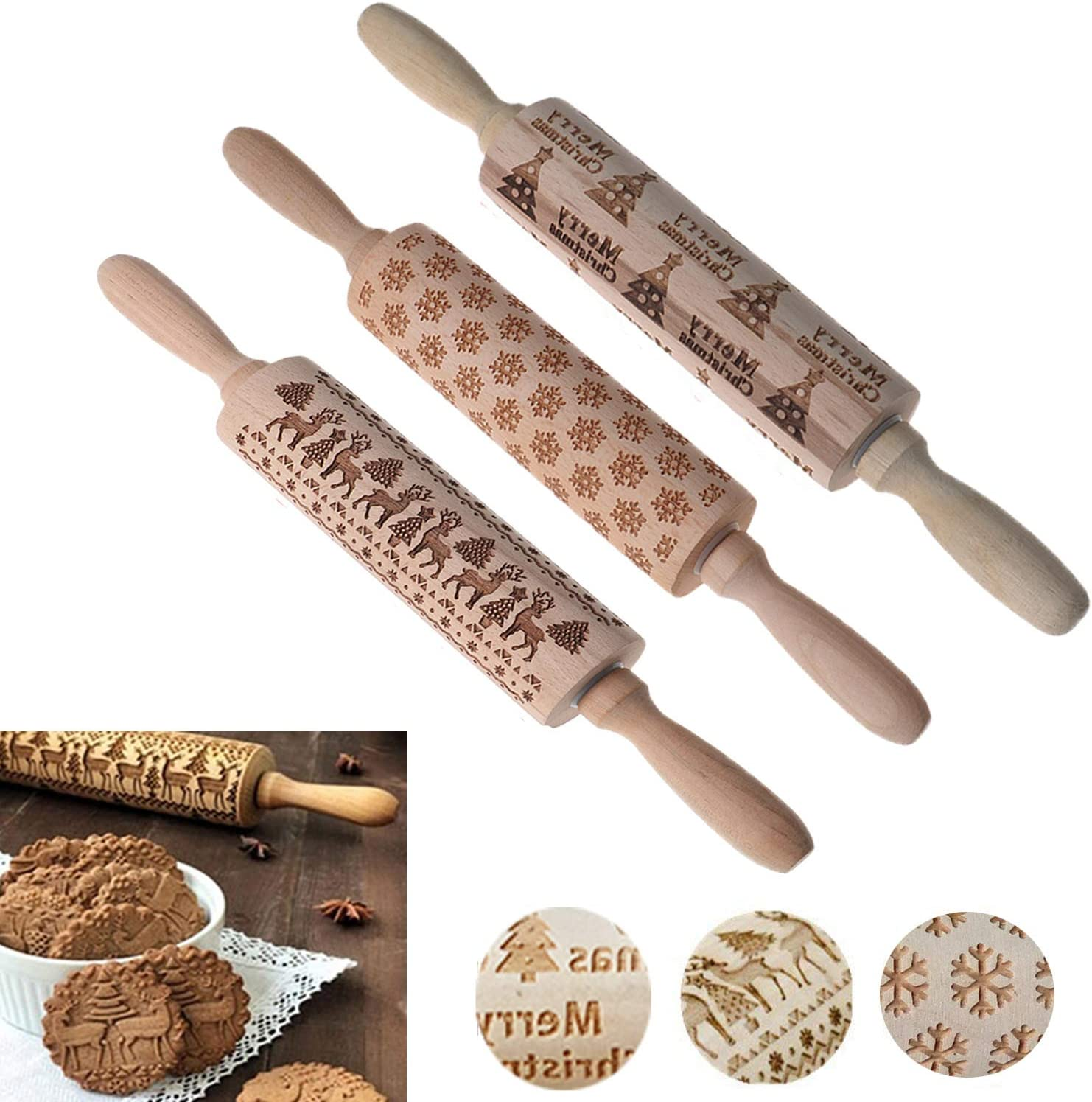 Ioffersuper 14in Christmas Embossed Wooden Rolling Pin Set, Including Snowflake/Xmas Tree/Elk Engraved Rolling Pin Baking Cookware Cake Sweets Handcraft Tool Kit
