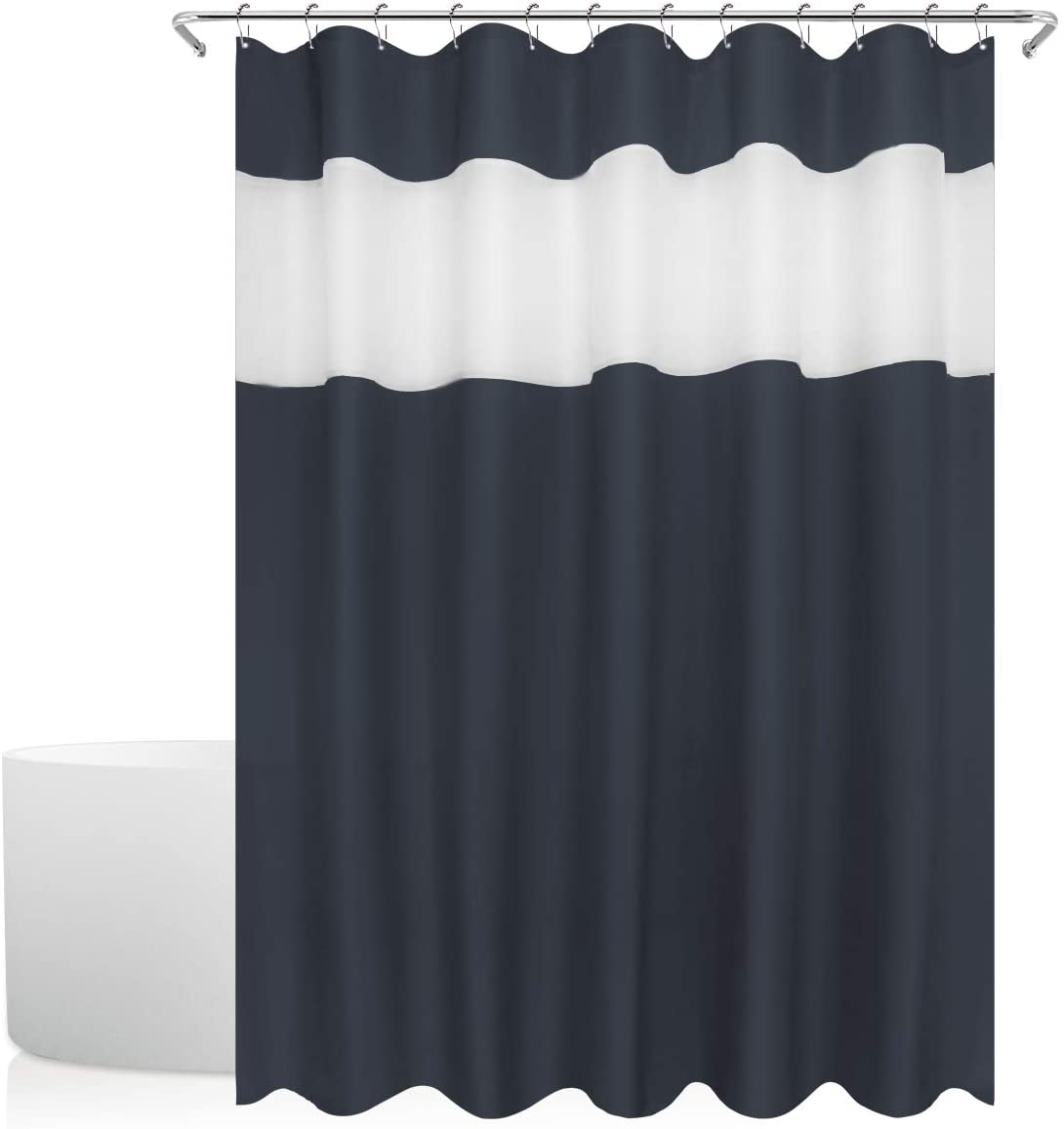 Eforgift Pastoral Top Tulle Design Shower Curtain Water Repellent Fabric, Solid Black Stall Curtain Machine Washable (Navy Blue, 72Wx84L)