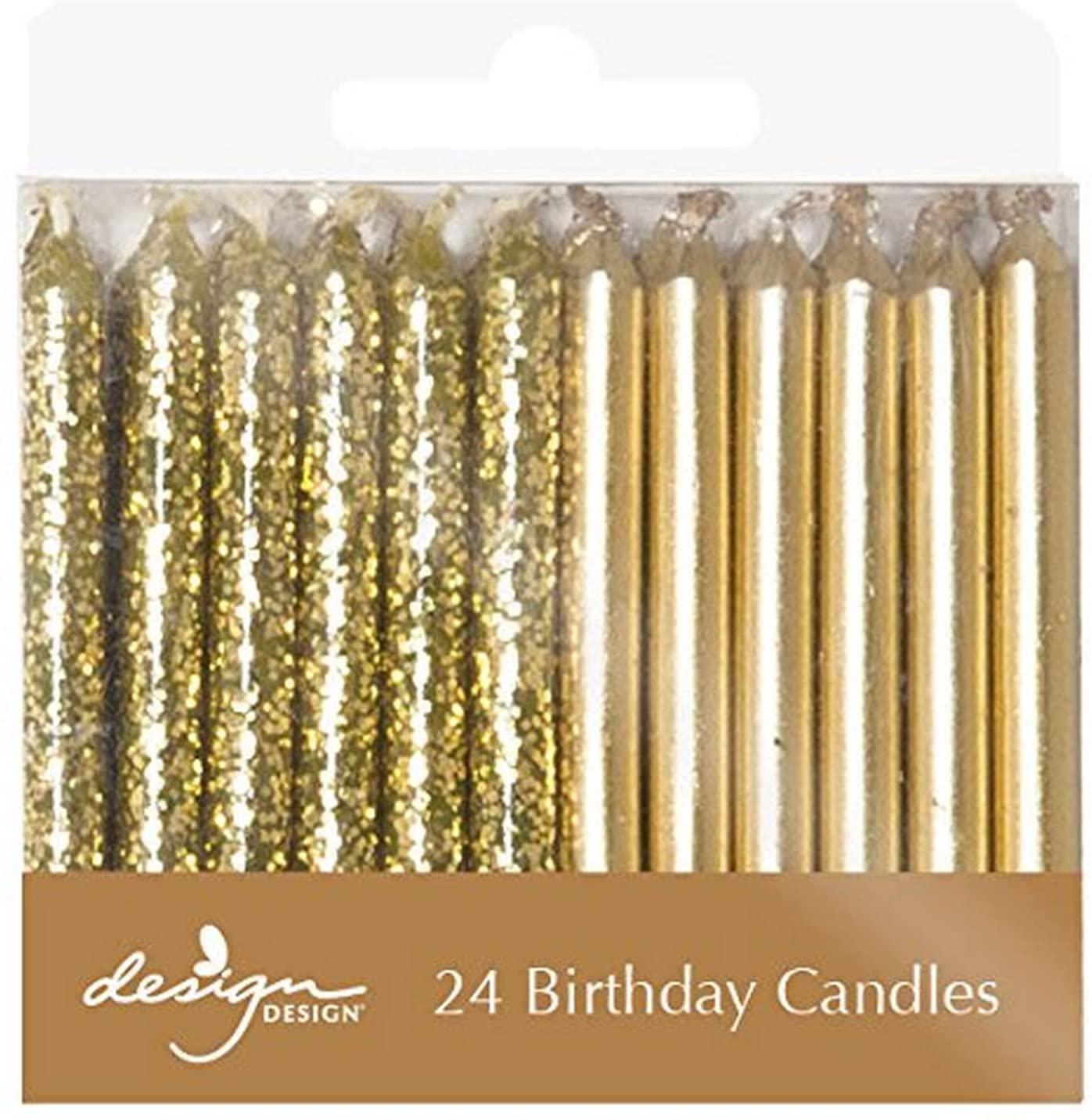 Design Design 756-08010 Metallic Birthday Candles, 1/4 x 2 3/8