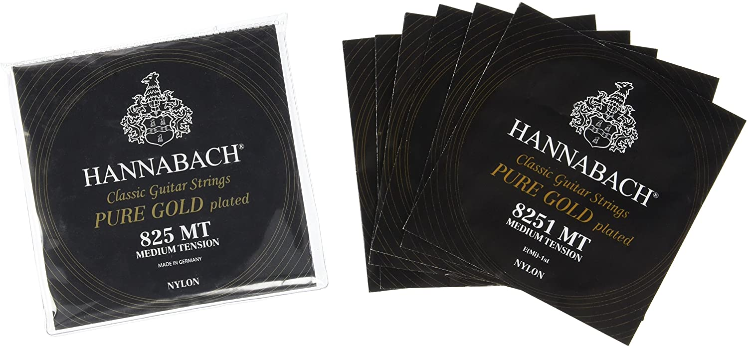 Hannabach 652637 Series 825 Specialized Gold Plated Medium Tension String Set for Classic Guitar - Black
