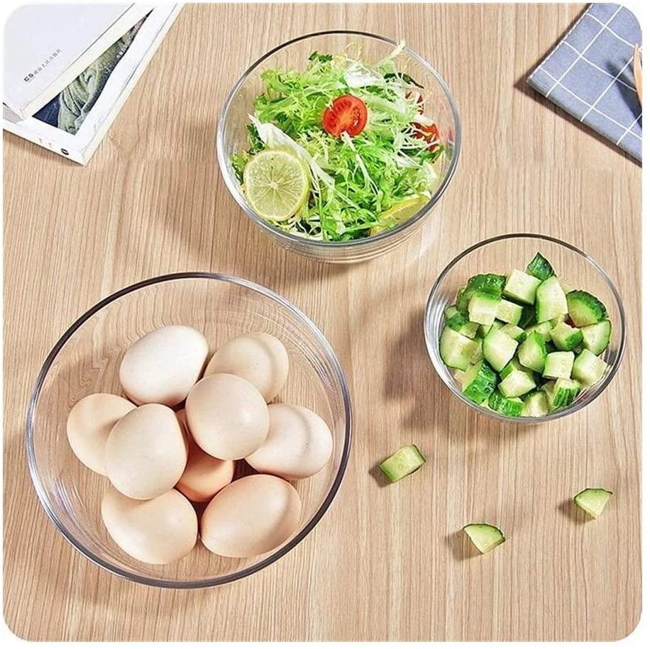 3PC Salad Bowl Heat Resistant Glass Transparent Fruit Dessert Noodles Bowl Fruit salad glass bowl storage tool