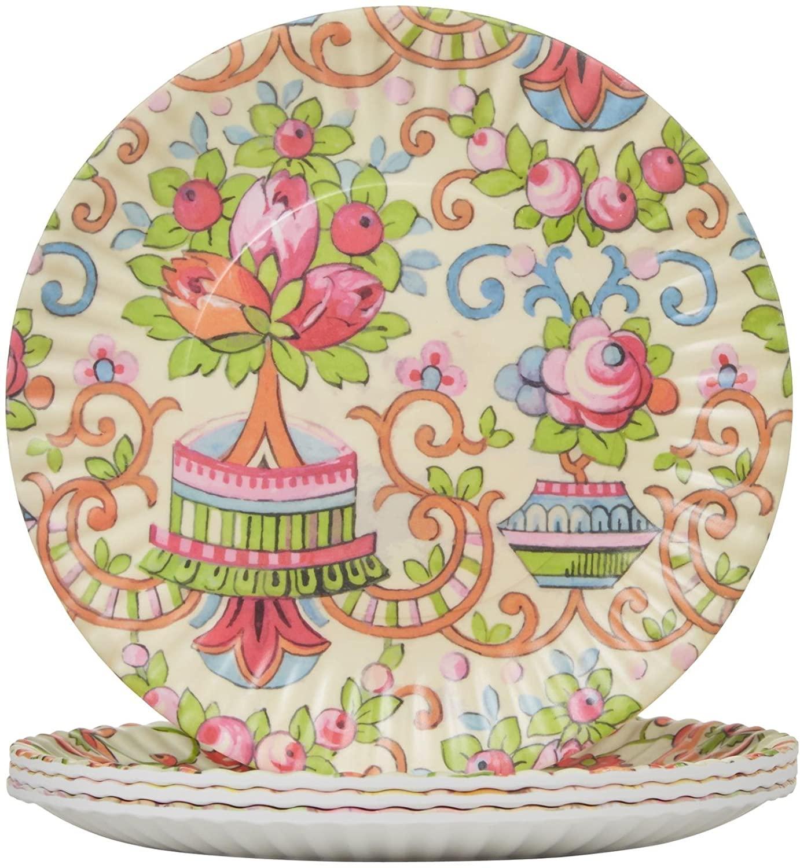 Glitterville Melamine Flea Market Paper Plate, 7.5-Inch, Set of 4