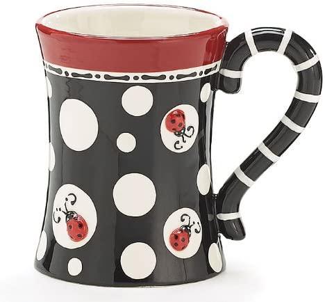 Ladybug Dots Raised Lady Bug 15oz Coffee Mug Tea Cup Adorable Gift