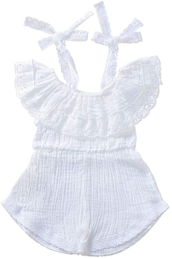 Baby Girls Off Shoulder Romper,Infant Kids Girls Lace Patchwork Flounce Jumpsuit One Piece Playsuit Summer Pants Outfits