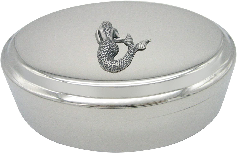 Silver Toned Large Mermaid Pendant Oval Trinket Jewelry Box