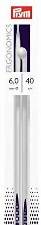 Prym Single-Point Ergonomic Knitting Pins/Needles, Metal, Multi-Colour, 6 mm, 40 cm Length, 1-Pair