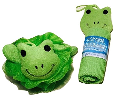 Adorable Green Frog Novelty Wash Cloths and Sponge Scrubbies for Babies and Toddlers; Animal Friends Make Bathing Fun (Green Frog); 2-pc