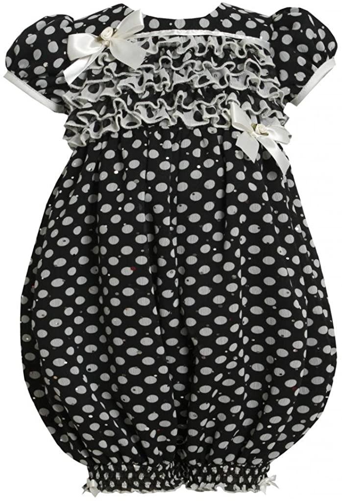 Bonnie Jean Baby Girls 3M-24M Black/White Sparkle Polka Dot Chiffon Romper/Jumpsuit