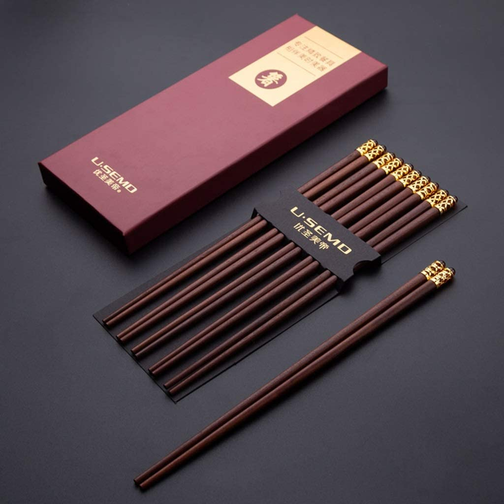 JUSANU Red Sandalwood Chopsticks Natural Home Mahogany Solid Wood Family Installed High-Grade Non-Slip 10 Double Wooden Chopsticks