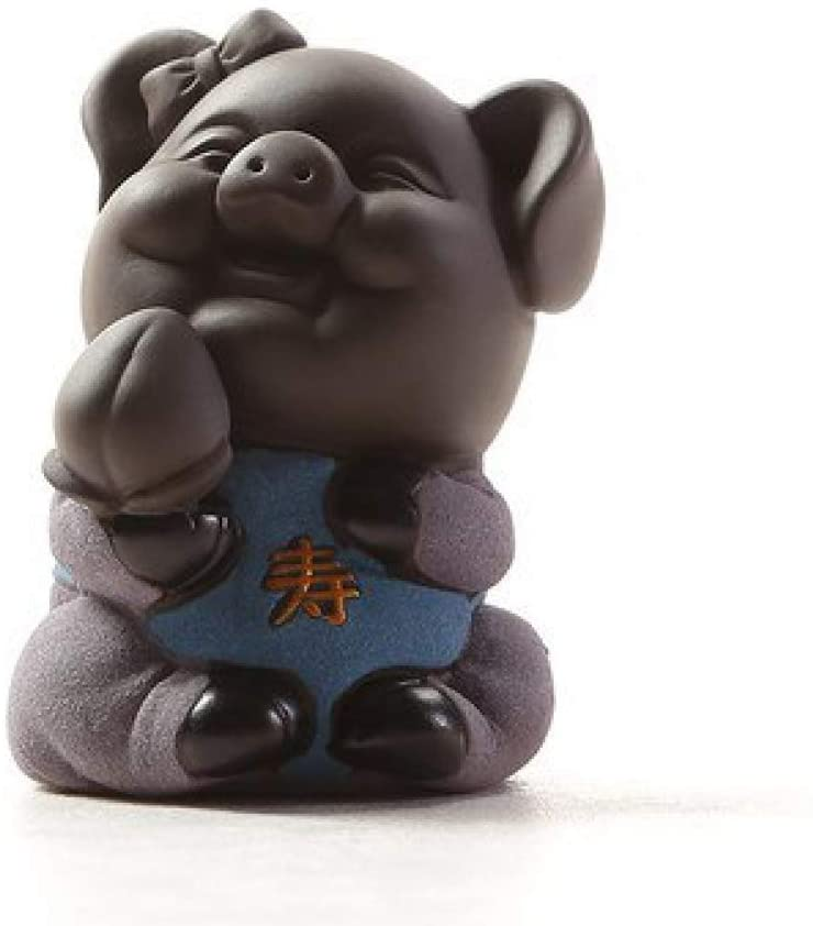 AMITD Lucky Pig Tea Pet for Gongfu Tea Tray Decoration Zisha Tea Accessory Ornament for Home Office Gift for Tea Lover