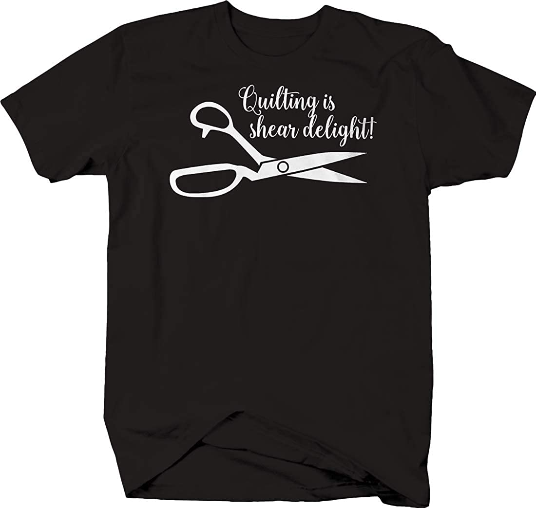LIFESTYLE SHIRTS & GRAPHIX Quilting is Shear Delight! Scissors Cursive Funny Sewing Hobby T Shirt for Men