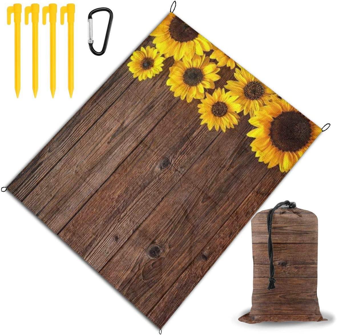 JEKYDOSD Sunflower Plank Printed Picnic Mat,Travel Outdoor Beach Blanket Durable Waterproof Sand Beach Mat Blanket for Travel Camping Hiking 67