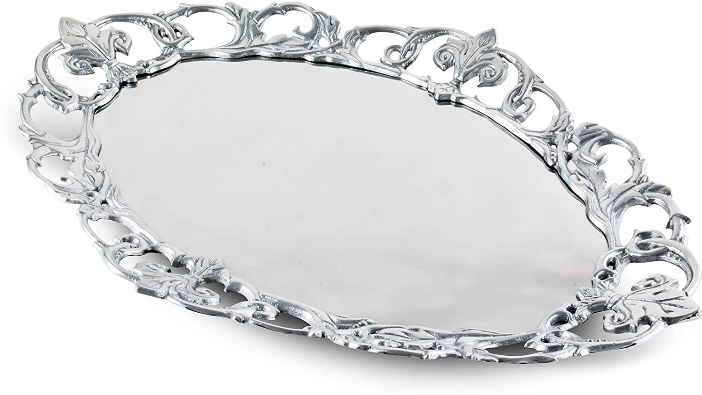 Arthur Court Designs Aluminum Fleur-De-Lis Oval 20