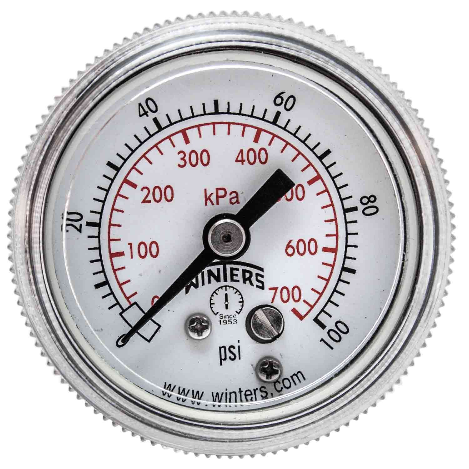 Winters P9S 90 Series Steel Dual Scale Pressure Gauge with Removable Lens, 0-100 psi/kpa, 1-1/2