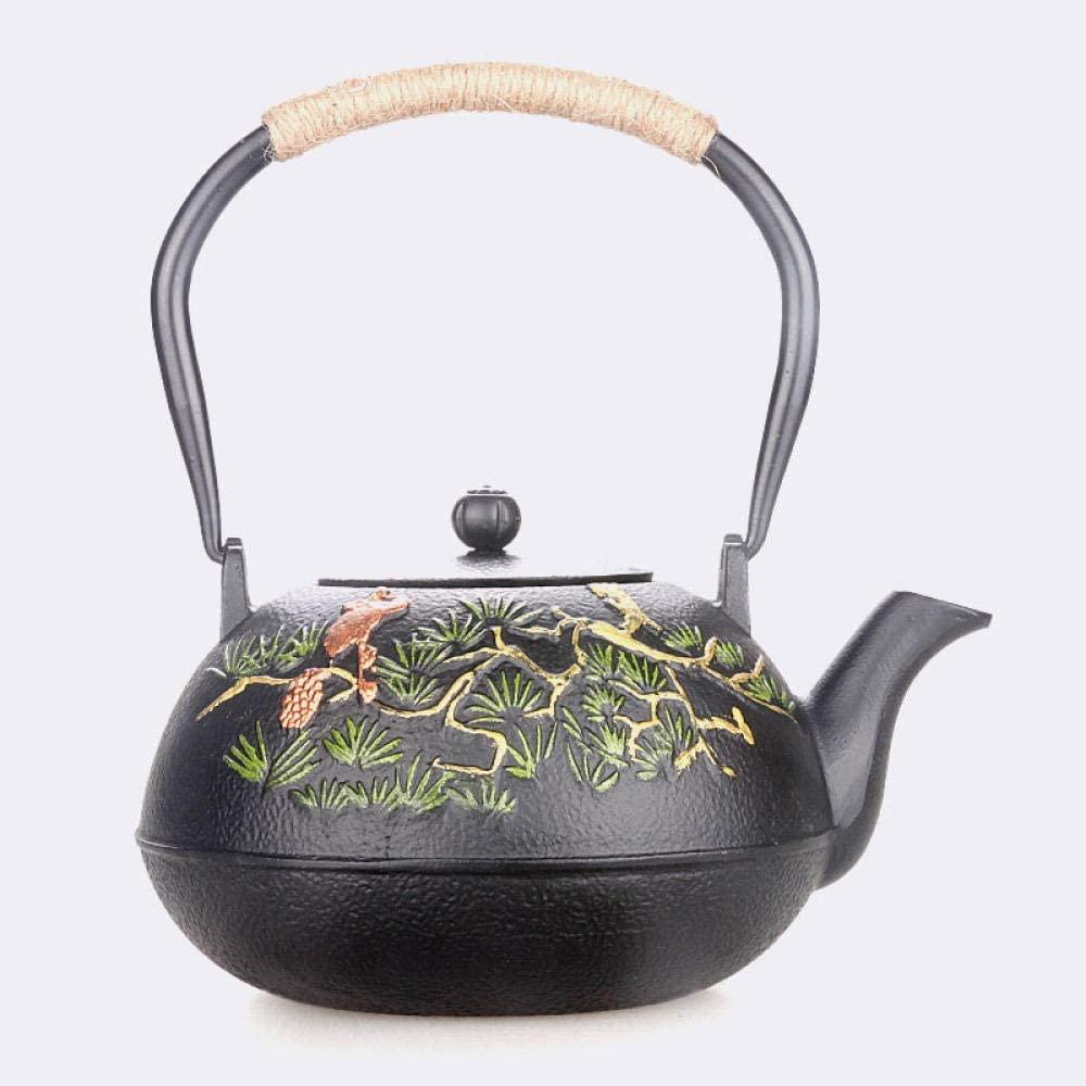 ZYL-YL Cast Iron Tetsubin Kettle 1200ML Japanese Craft Iron Pot Pine Tree Iron Tea Set Tea Set Boiled with Filter