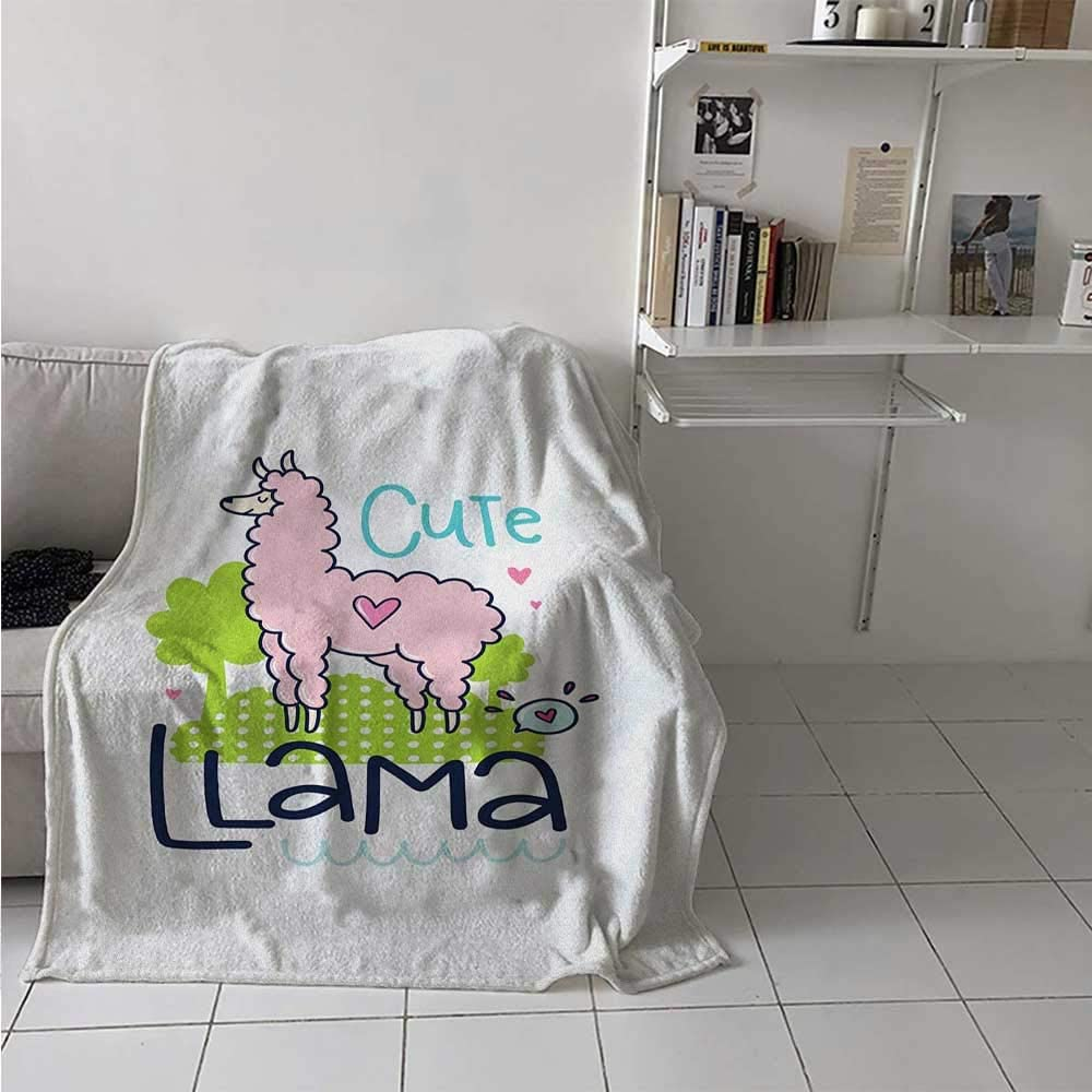 painting-home Breathable Blanket Cute Llama Pattern with Abstract Color Palette Cartoon Character Design Pink Animal Lightweight Warm Blankets for Kid Baby Toddler Teenager Multicolor 60 x 70 Inch
