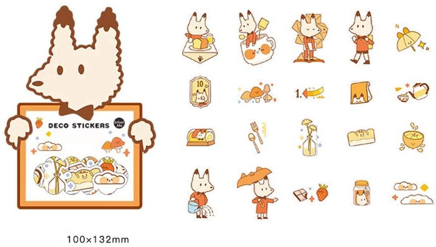 FairOnly 40pcs Cartoon Sticker Set Sweet Food Dessert Notes Journal Stationery Panda Fox Rabbit Cat Dog Scrapbooking DIY Diary Album Stick Label Fox for Student Office Supplies