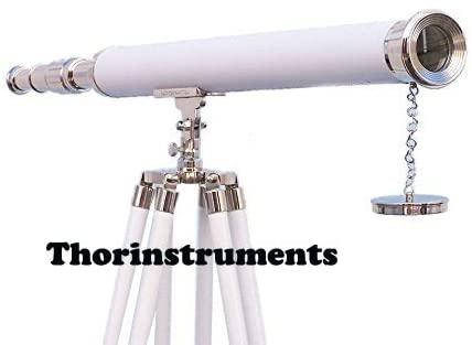 Floor Standing Chrome with White Leather Harbor Master Telescope 55