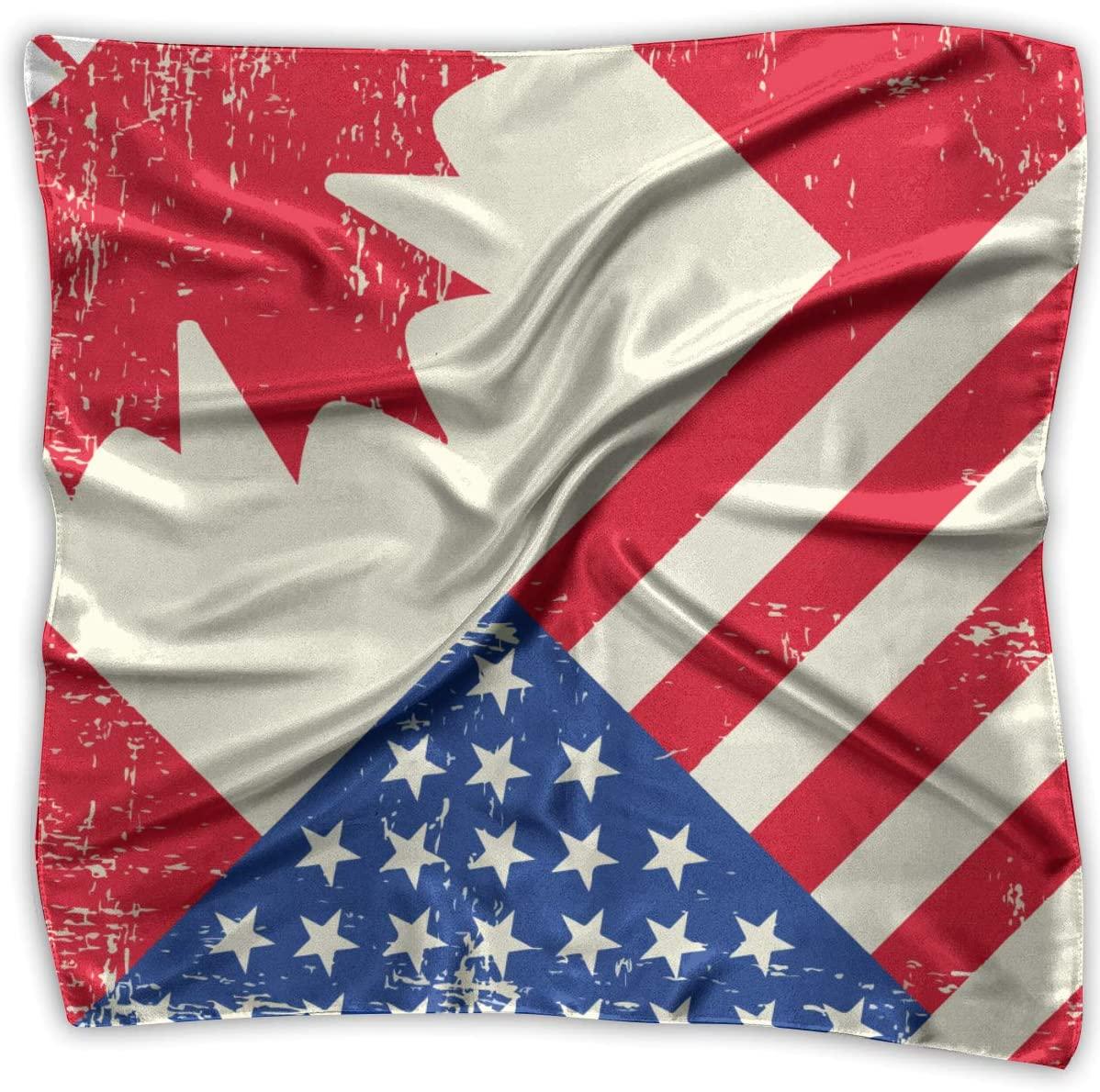 WFIRE Canadian Canada American USA Flag Square Handkerchiefs Scarf Shawl Bandanas Headscarf Neckerchief