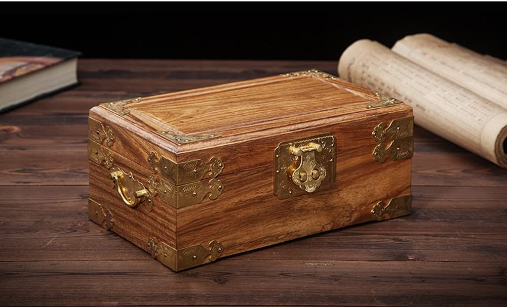 WODESHIJIE Mahogany Jewelry Box/Makeup Storage Box/Jewelry Box/Red Rosewood Vintage Jewelry Box/Jewelry Gift Box-E