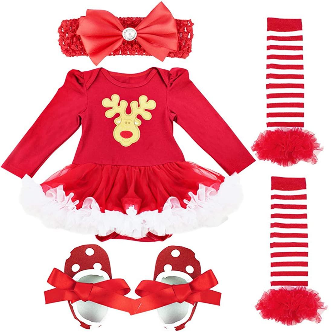 TiaoBug Toddler Baby Girls Deer Christmas Outfits Xmas Romper Dress+Leg Warmer+Shoes+Headband 4Pcs Winter Santa Clothes Set