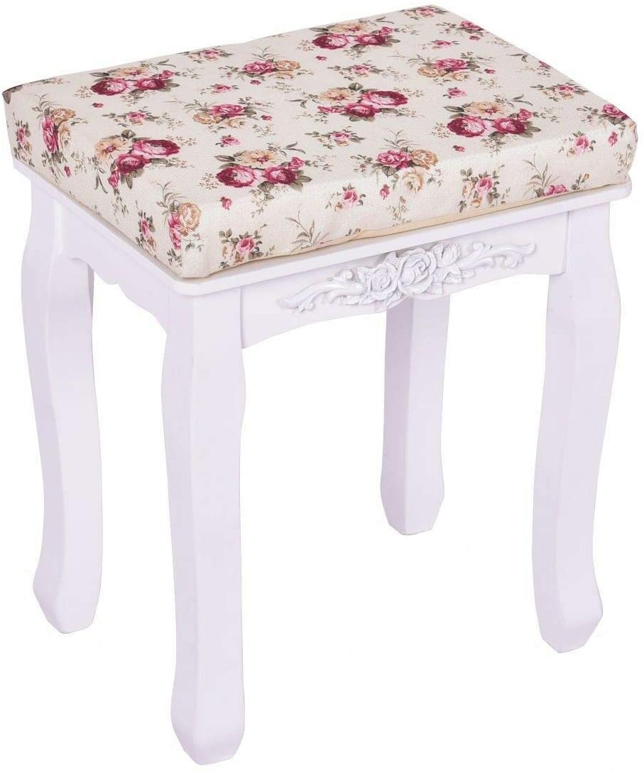 Dj siphraya Modern Vanity Wood Dressing Stool Padded Chair Makeup Piano Seat with Cushion White Made of Pine Wood and MDF Panel Dimension 15.7 X 11.8 X 17.7 Inch Simple and Elegant Design