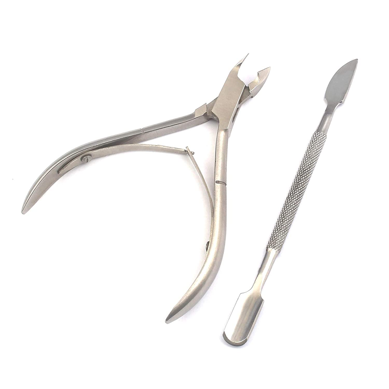 CUTICLE NIPPER AND CUTICLE PUSHER - SURGI GRADE STAINLESS STEEL CUTICLE REMOVER AND CUTTER - DURABLE MANICURE, PEDICURE AND BEAUTY TOOL FOR IDEAL FINGERNAILS AND TOENAILS - BY DDP (SET)