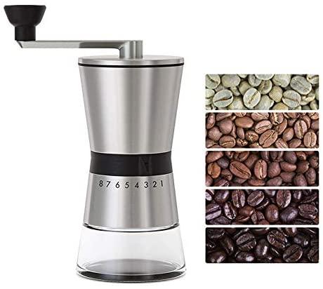 Precision Manual Coffee Grinders, 15 Adjustable Settings, Brushed 18/8 Stainless Steel