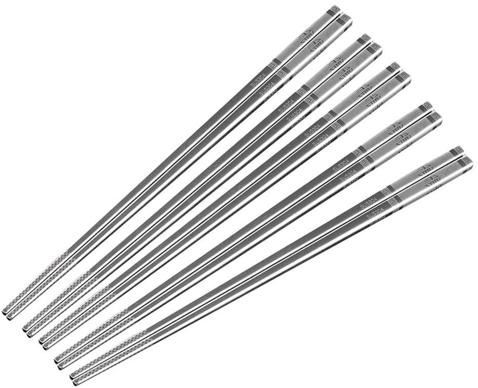 Metal Alloy Chopsticks304 Stainless Steel Lightweight Chopsticks 5 Pairs Set