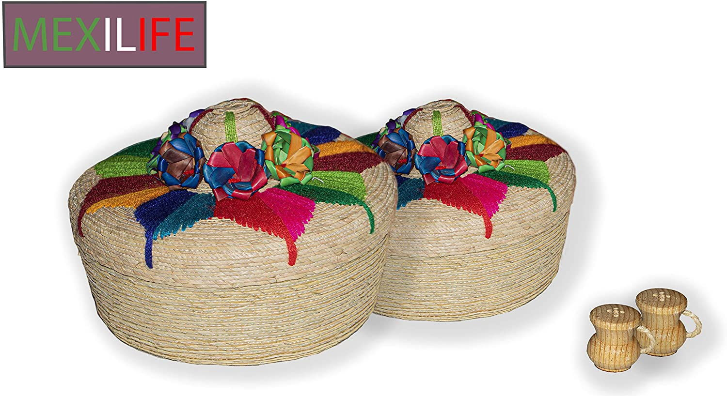 Mexican Palm Tortilleros. Handmade by The Indigenous People OF Mexico. Mexican Tortilla and Pancake Warmer. Great candy, and Chips Holder. With Shakers (Tradicional, 2 Pack)