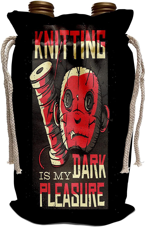 3dRose Sven Herkenrath Funny - Knitting Dark is my Pleasure Knit Yarn Crochet Handmade - Wine Bag (wbg_320735_1)