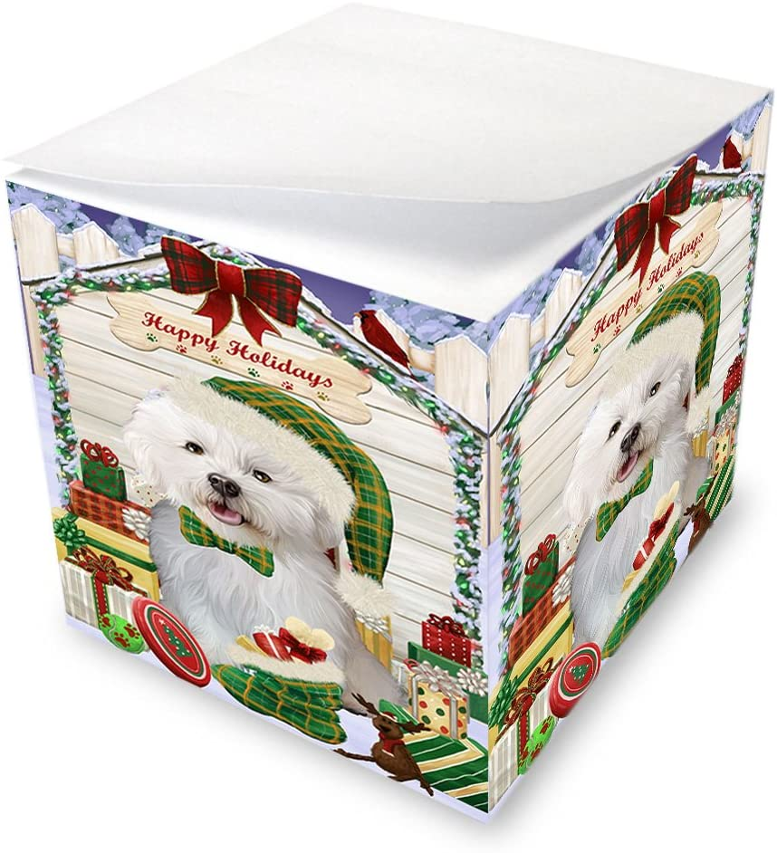 Happy Holidays Christmas Bichon Frise Dog House with Presents Note Cube NOC51340