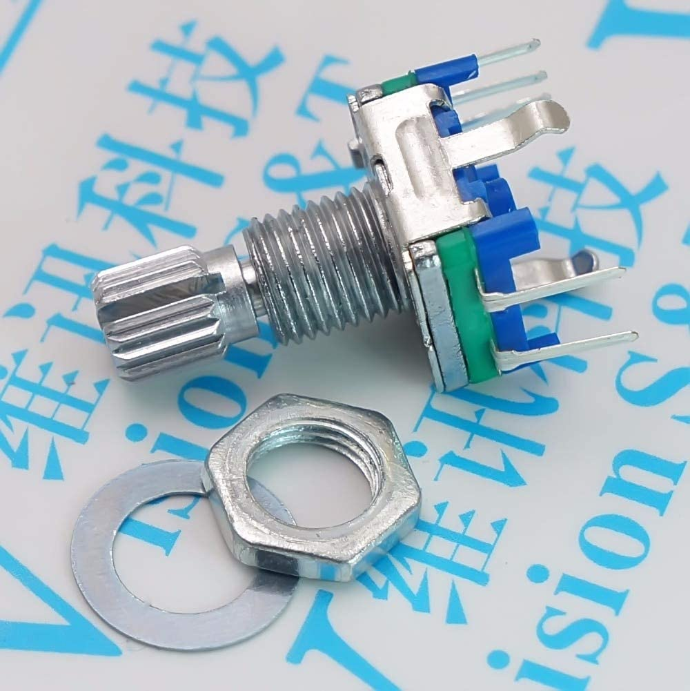 Cables EC11 Digital Potentiometer Plum Handle 15mm Rotary Encoder 20-bit Pulse with Switch Five Feet - (Cable Length: EC11 15mm)