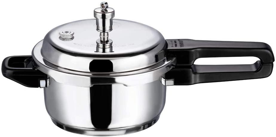 Vinod V-3L Stainless Steel Sandwich Bottom Pressure Cooker, 3-Liter