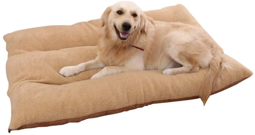Large Deluxe Dog Bed Mat with Removable Washable Cover, for Pet Cat, Brown (Size : M 70×50×12cm)