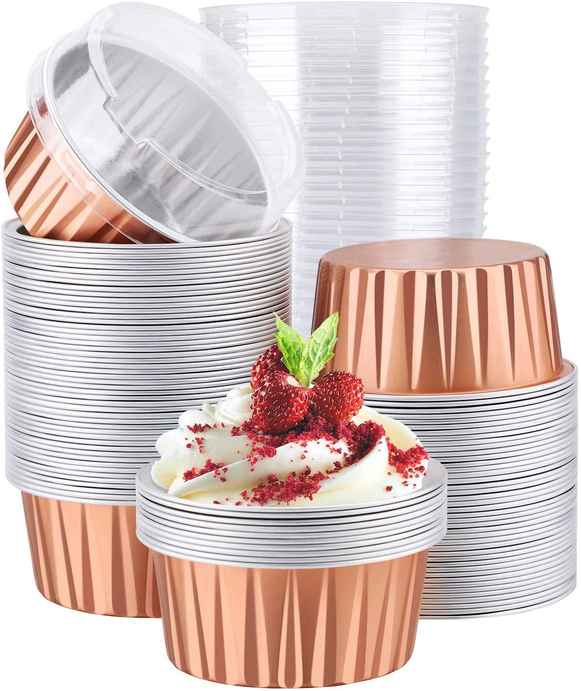 100pcsCupcake Liners, Eusoar 5oz 125ml Muffin Liners Cups with Lids, Creme Brulee Ramekins, Disposable Foil Ramekins, Aluminum Foil Baking Cups, Cupcake Baking Cups, Aluminum Foil Cupcake Holder Pan