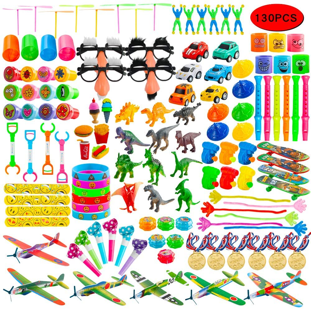 Kissdream Party Favors,21 kinds Toys Set Carnival Prizes for Kids,130PCS Prizes Box Toy Assortment for Boys Girls, Treasure Box Prizes Gift for Party, Birthday, School.