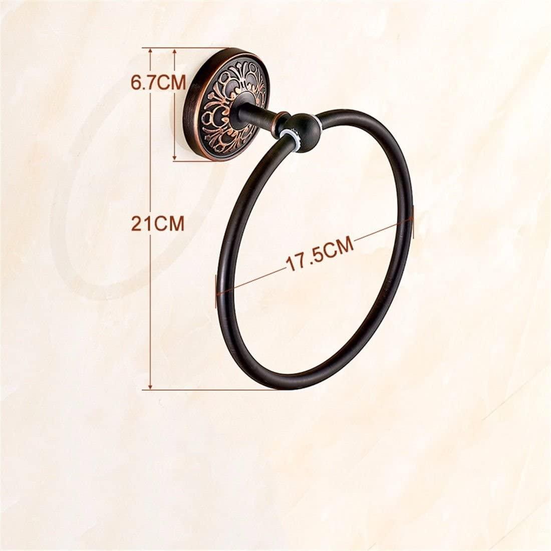 AiRobin-Brass Black Antique Wall Mounted Towel Ring Bathroom Accessory