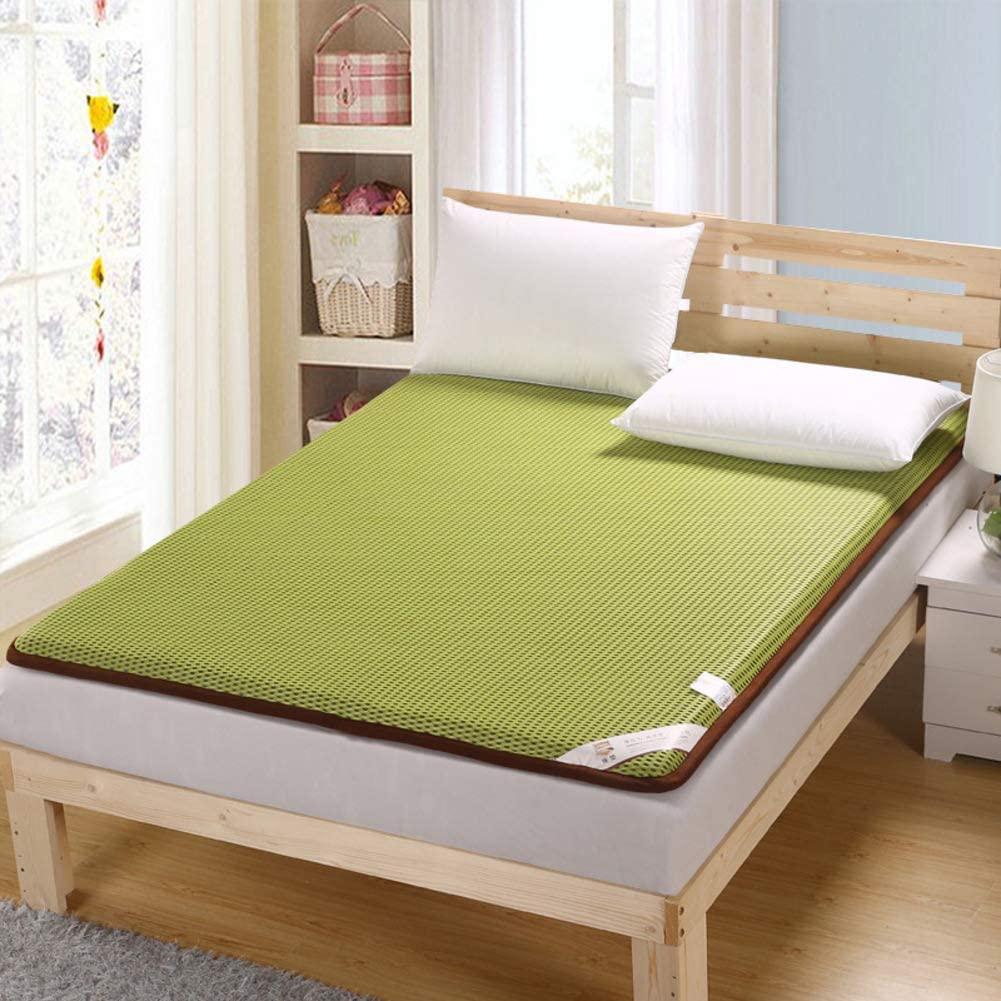 Nileco Breathable Futon Mattress Topper,Soft Tatami Bed Mattress Bedroom Floor Mattress Student Dormitory Thin Japanese Roll Up Mattress-Green King