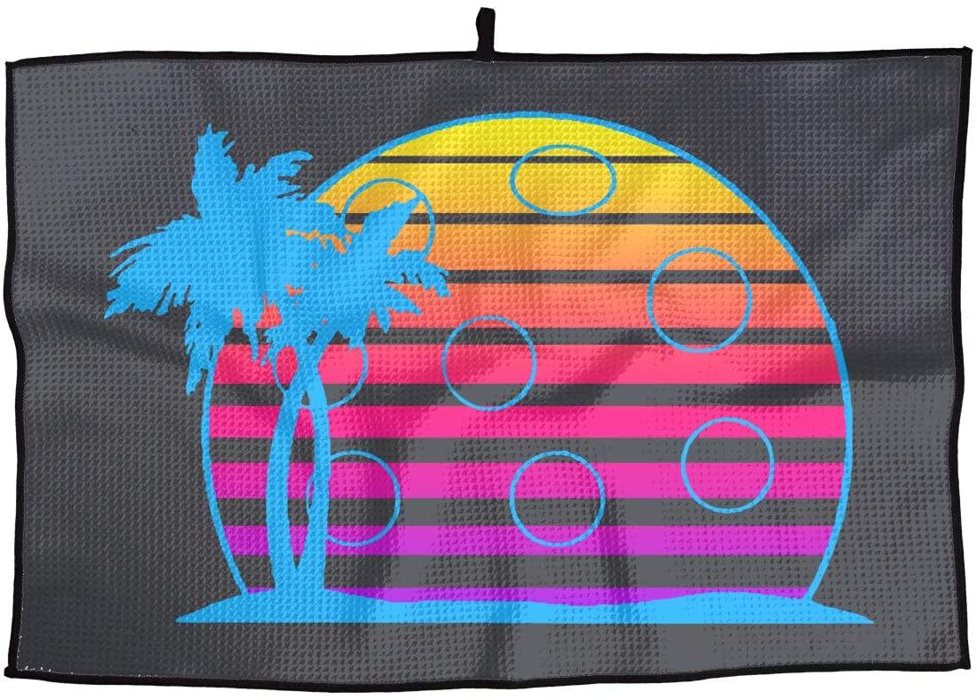 SHARP-Q Pickleball Sunset Palm Tree Premium Golf Towel Fashion Towel