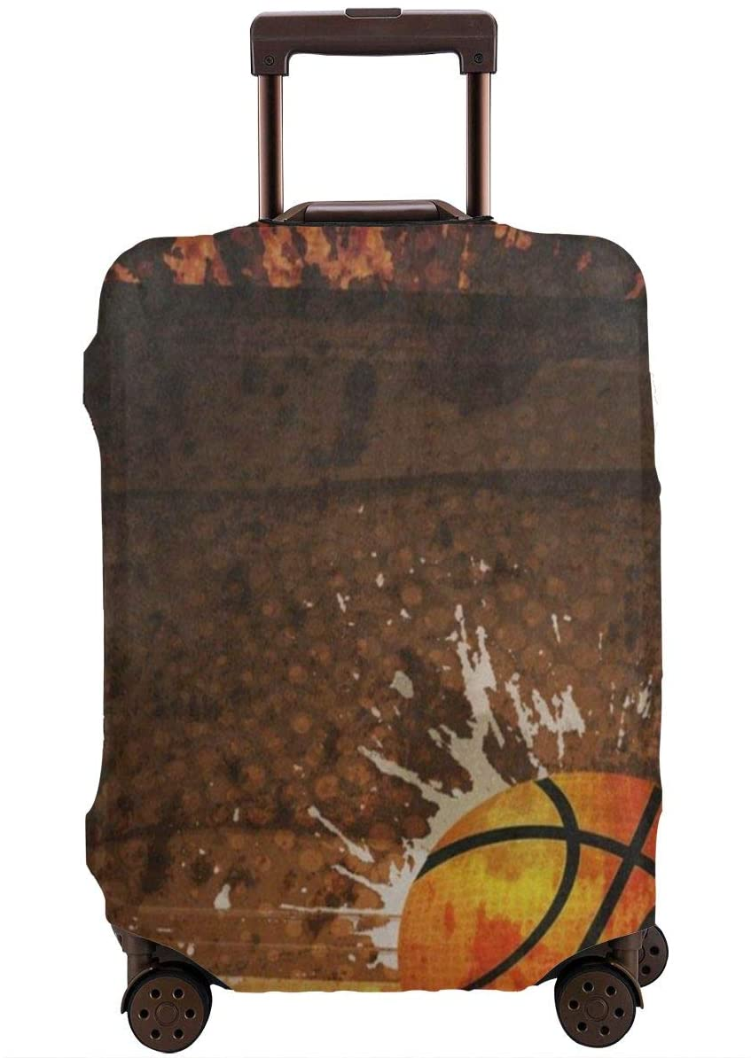 Basketball Wooden Ball Travel Luggage Cover,Elastic Polyester Protection Anti-Scratch Waterproof,Travel Elastic Spandex Suitcase Protector Various Sizes Fit All Luggage