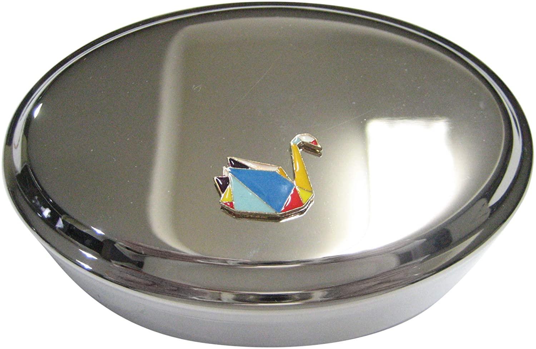 Kiola Designs Colorful Origami Swan Bird Oval Trinket Jewelry Box