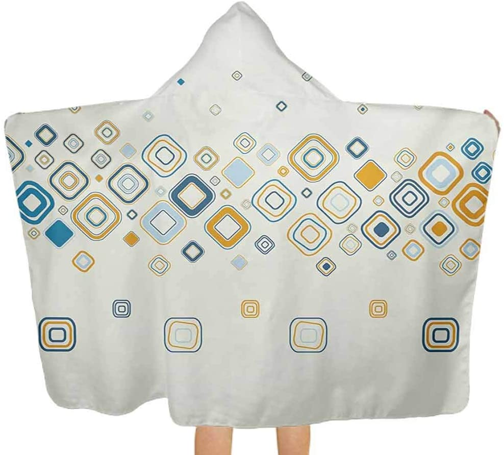 ThinkingPower Hooded Baby Towel Vector Illustration of Stylish Repeating Geometric Shapes Pattern Hooded Baby Towel Washcloth for Babie, Toddler, Infant Cream Marigold Pale Blue 51.5x31.8 Inch