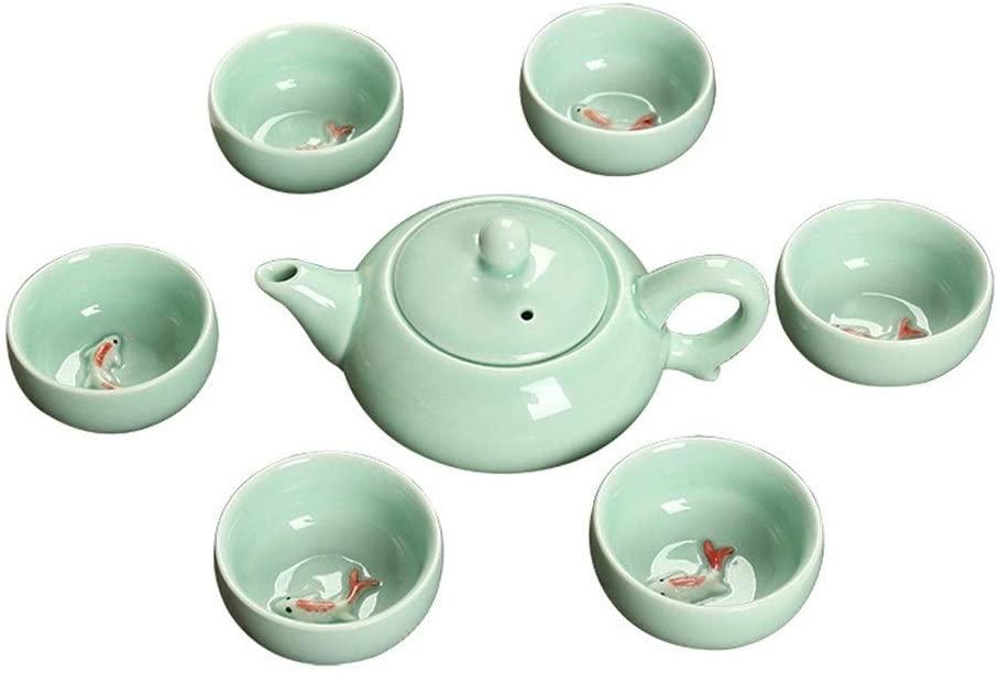 MADONG Celadon fish ceramic mug kung fu tea sets (Color : Celadon Carp)