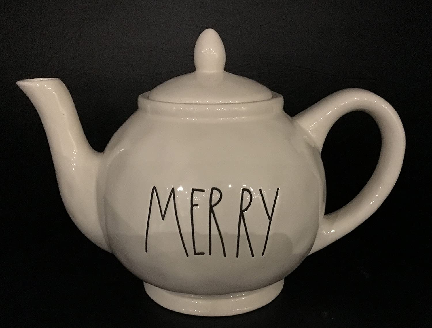 Rae Dunn Artisan Collection By Magenta Pottery Tea Pot MERRY Dishwasher Safe