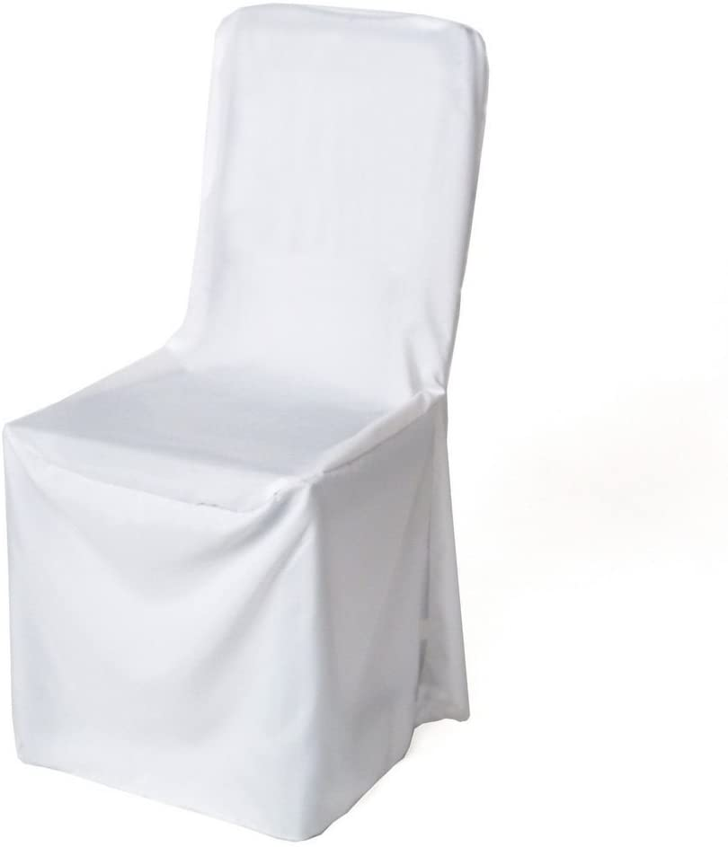 mds Pack of 10 Polyester Round top Banquet Chair Cover for Wedding Party Decorations Chair Covers - White