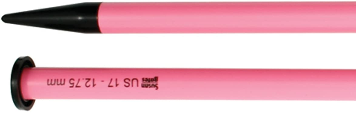 Susan Bates 14-Inch Luxite Single Point Knitting Needle, 12.75mm, Pink/Black