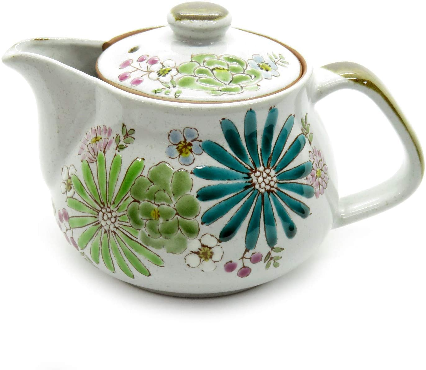 Kutani Yaki(ware) Japanese Teapot Flowers (with tea strainer)